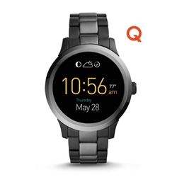 Q FOUNDER DIGITAL DISPLAY TWO-TONE STAINLESS STEEL TOUCHSCREEN SMARTWATCH