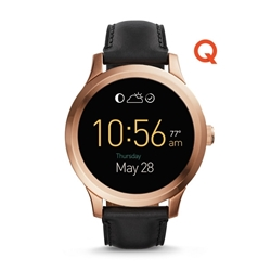 Q FOUNDER DIGITAL DISPLAY BLACK LEATHER TOUCHSCREEN SMARTWATCH