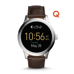 Q FOUNDER DIGITAL DISPLAY BROWN LEATHER TOUCHSCREEN SMARTWATCH
