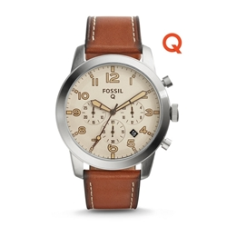 Q54 PILOT LIGHT BROWN LEATHER SMARTWATCH